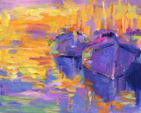 boats in a Sunset Impressionistic painting