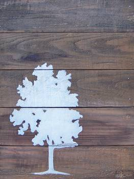 Reclaimed Wood White Tree Painting By Lisa Bick