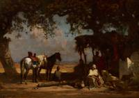 An Arab Encampment, c.1880 (oil on panel)