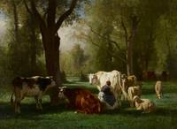 Landscape with Cattle and Sheep, 1852-8 (oil on ca