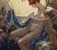 Portrait of Mlle. Lange as Danae, 1799 (oil on can