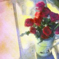 Red Roses in Pitcher by Faye Cummings