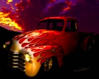 Flaming Chevy Pickup and a Sundowner Picnic