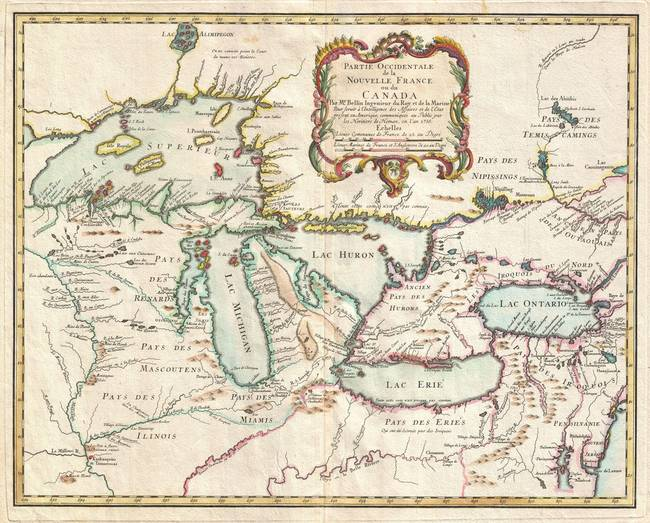 Vintage Map Of The Great Lakes 1755 By Alleycatshirts Zazzle