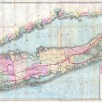 """""""Vintage Map of Long Island New York (1880)"""" by Alleycatshirts"""