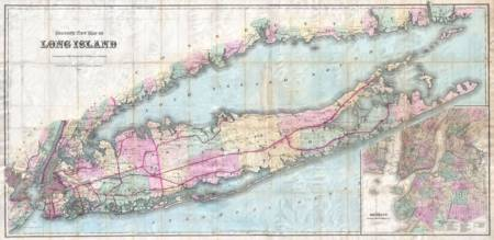 Vintage Map of Long Island New York (1880)