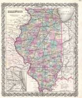 Vintage Map of Illinois (1855)