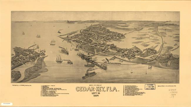 Vintage Map of Cedar Key Florida )1884(