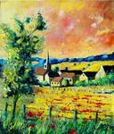 Red poppies village ardennes landscape