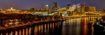 St. Paul Night Skyline Panorama