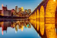 Stone Arch Bridge and Minneapolis Skyline at Dusk