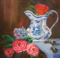 ROSES AND BLUE VASE
