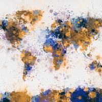 """World Map Paint Splashes"" by ModernArtPrints"