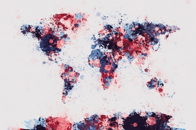 Flowers Map of the World Map by Michael Tompsett on