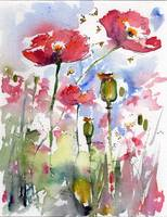 Pink Poppies Pods and Bees Watercolor by Ginette