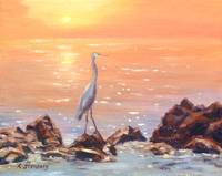 Blue Heron at Sunset Sea