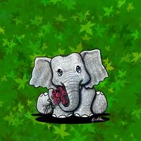 Elephant On Green