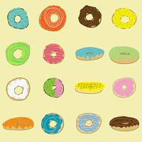 Sixteen Donuts on Yellow
