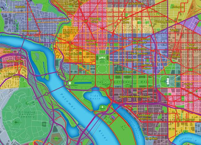 Washington DC Map Art by Paul Hein