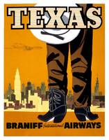 Braniff Texas Travel Poster