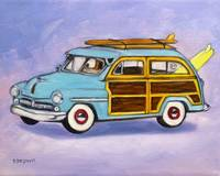 woody - surfing - wagon by tracie brown