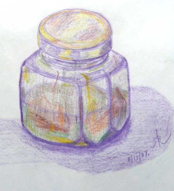 Colored Pencil Glass Jar Study 2007 By Anna Borsos Ruzsan