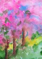 Sakura Pink Cherry Flowers Watercolor Painting