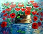 Poppies and a Clay Pot by Mazz Original Paintings