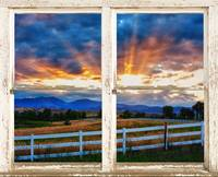 Country Beams Of Light Pealing Picture Window View