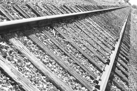 Train Tracks Triangular in Black and White