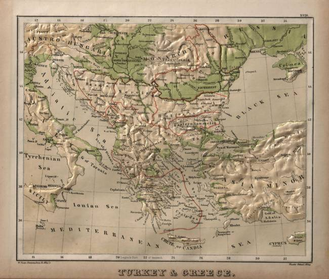 Vintage Physical Map of Greece (1880) by Alleycatshirts @Zazzle