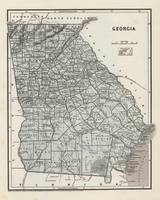 Vintage Map of Georgia (1845)