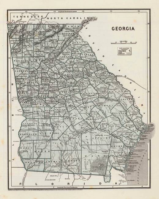 Vintage Map of Georgia (1845) by Vintage Map Store