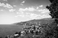 Sunny view of Yalta from Massandra Park (B&W ver.)