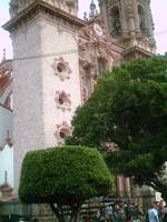 Taxco Cathedral with Zocalo Shrubs