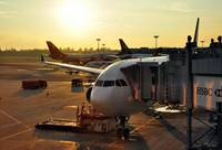 Sunrise on Changi Airport and 'My' Airbus A333