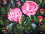 Rose Bush Painting by Mazz Original Paintings
