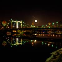 """""""Grain Belt Beer and a Full Moon over the Bridge"""" by GregLundgrenPhotography"""