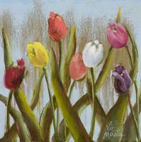Colorful Tulips with Gold Leaf