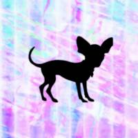 Chihuahua Silhouette on Homespun Art