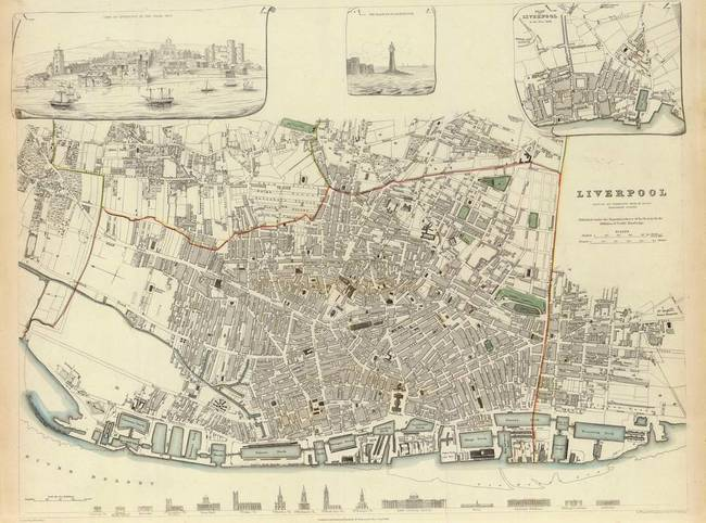 Vintage Map of Liverpool England (1835) by Alleycatshirts @Zazzle
