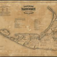 """""""Vintage Map of Nantucket (1869)"""" by Alleycatshirts"""