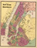 Vintage Map of New York and Brooklyn (1850)