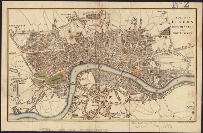Vintage Map Of London England 1807 By Vintage Map Store