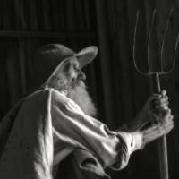 Old Farmer with Pitchfork by Betty Sederquist