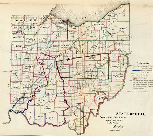 Vintage Map of Ohio (1866) by Vintage Map Store