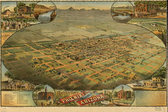Arizona Map Store.Vintage Pictorial Map Of Phoenix Arizona 1885 By Vintage Map Store
