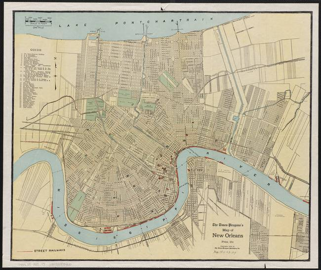 Antique New Orleans Map.Vintage Map Of New Orleans Louisiana By Vintage Map Store