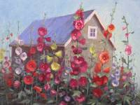 Hollyhocks by the Shed