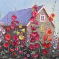 """Hollyhocks by the Shed"" by KariHogden"